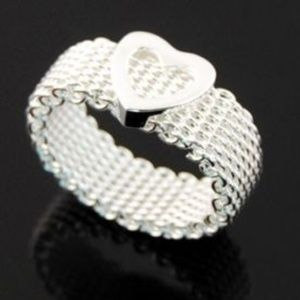 Jewelry - 925 Silver chainlink mesh ring womens mens
